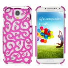 Fashion Hollow Flower Pattern Crystal Back Case for Samsung Galaxy S4 - Purplish Red