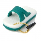 Cute Silicone Slipper Pendant Style Anti-Dust 3.5mm Audio Plug - Green