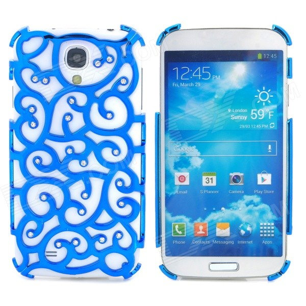 Elegant Hollow-Out Flower Style Rhinestone + Plastic Back Case for Samsung Galaxy S4 i9500 - Blue protective hollow out matte pc back case for samsung galaxy s4 zoom sm c1010 blue