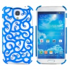 Elegant Hollow-Out Flower Style Rhinestone + Plastic Back Case for Samsung Galaxy S4 i9500 - Blue