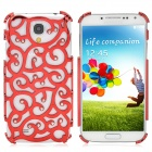Fashion Hollow Flower Pattern Crystal Back Case for Samsung Galaxy S4 - Red