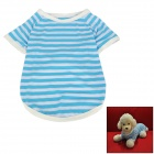 Stripe Pattern Cotton T-shirt for Dog - Blue + White (Size L)
