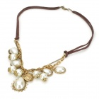 Leather Chain Zinc Alloy + Pearls Pendant Necklace for Women - Golden + White