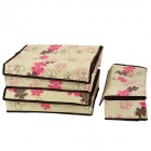 Foldable Non-woven Fabric Storage Box Set - Beige + Brown + Red