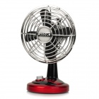 Head-Shaking USB Powered 2-Mode 4-Blade Mini Fan - Silver + Black + Red (4 x AA)