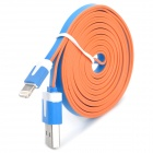 USB 2.0 Male to 8 Pin Lightning Male Flat Charging + Data Cable - Blue + White (200cm)