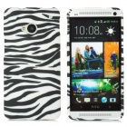 Zebra-stripe Pattern Protective Silicone Case for HTC ONE M7 - White + Black