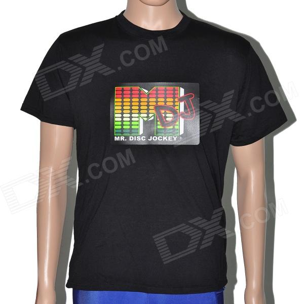 Sound and Music Activated Spectrum DJ LED Visualizer T-shirt - Black (Size-L / 2 x AAA) sound and music activated spectrum dj led visualizer t shirt black size l 2 x aaa