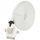 USB Male to Apple 30 Pin / 8 Pin Lightning / Micro USB Charging + Data Cable - White (300cm)