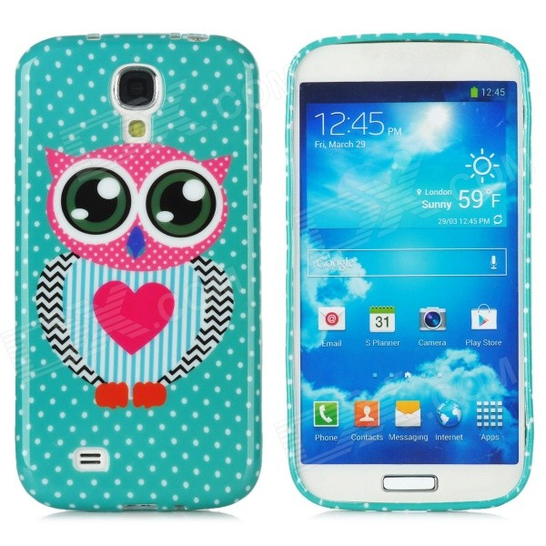 Owl Love Pattern Protective Silicone Case for Samsung Galaxy S4 i9500 - Green + Pink + Black cool basketball skin pattern silicone protective back case for samsung galaxy s4 i9500 black red