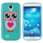 Owl Love Pattern Protective Silicone Case for Samsung Galaxy S4 i9500 - Green + Pink + Black