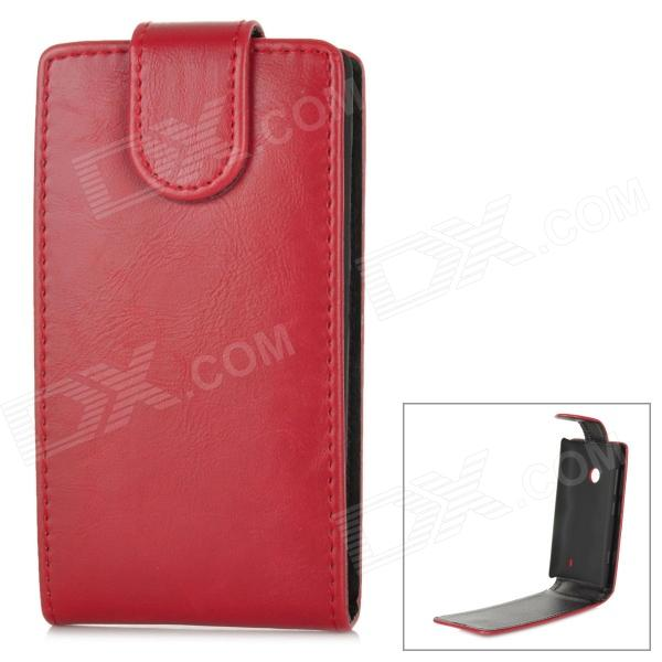 Protective PU Leather + TPU Top Flip-Open Case for Nokia 520 - Red