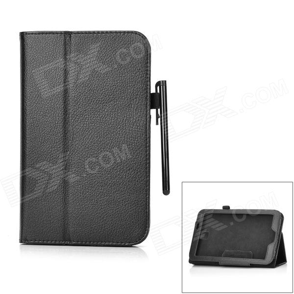 Stylish Flip-open PU Leather Case w/ Holder & Stylus for Samsung Galaxy Tab 3 P3200 - Black korean alphabet children sweater baby pants two piece xqwc013