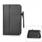 Stylish Flip-open PU Leather Case w/ Holder & Stylus for Samsung Galaxy Tab 3 P3200 - Black