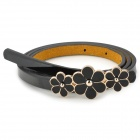 Flowers Decoration Lady's Slim Artificial Leather Belt - Black + Golden