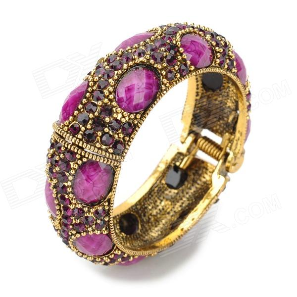 Oval Shaped Rhinestone Crystal Zircon Bracelet - Purple + Golden rhinestone inlay alloy bracelet oval watch