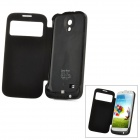 Portable 3800mAh External Battery Case w/ Smart Cover / Stand for Samsung Galaxy S4 / i9500 - Black