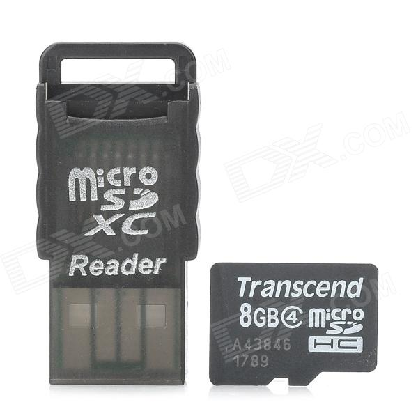 Transcend 8GB Class 4 MicroSDHC TF Card + Card Reader Set