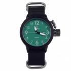 ORKINA W010 Fashional Men's Quartz Wrist Watch w/ Calendar - Black + Green + White (1 x LR626)