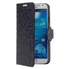 YOTOP Honeycomb Pattern Protective PU Leather Case w/ Holder for Samsung Galaxy S4 i9500 - Black