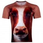 LAONONGZHUANG Men's Stylish 3D Cow Head Pattern Artificial Fiber T-shirt - Brown+White (XL)