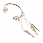 Cool Skull Head Style Copper Alloy + Rhinestone Left-Ear Earring - Golden