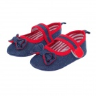 Cute Bowknot Denim Velcro Baby Shoes - Deep Blue + Red (0~6 Months / Pair)