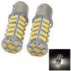 1157-68WN 4W 250lm 4000K 68-SMD 3528 LED Warm White Light Car Steering Brake Light - Yellow + Silver