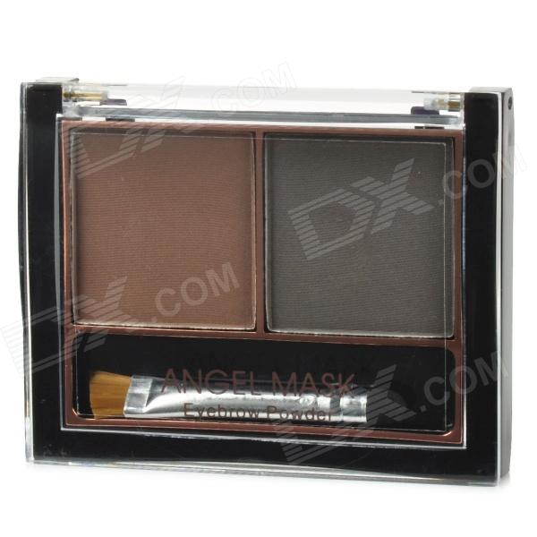 05 2-Color Make-up Cosmetic Eyebrow Powder w/ Brush - Brown + Greyish Brown hyl 8032