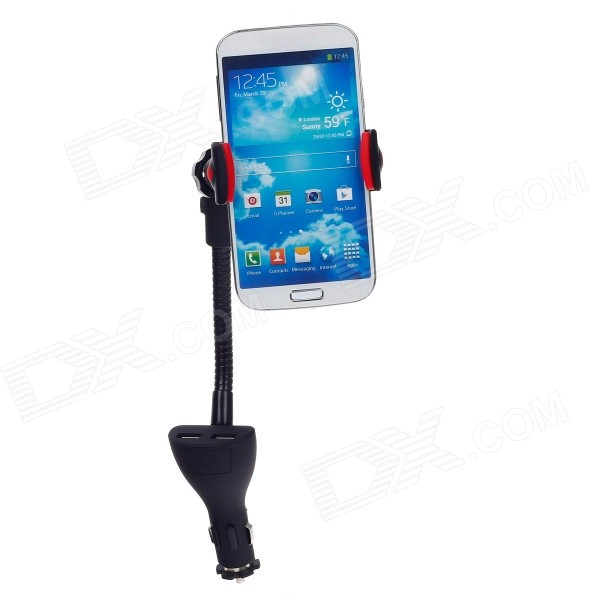 Universal Multi-functional Car Cellphone Holder w/ USB Car Charger for Samsung S4 i9500 - Black