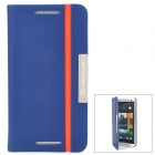 NILLKIN Protective PU Leather + PC Case for HTC One M7 - Blue