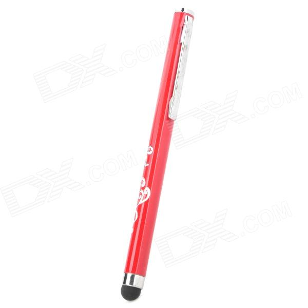 Simple Universal Pen Style Capacitive Screen  Stylus w/ Stylish Imprinted Flower Pattern - Red