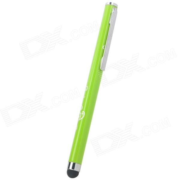 Simple Universal Pen Style Capacitive Screen  Stylus w/ Stylish Imprinted Flower Pattern - Green