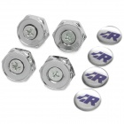 "Stainless Steel ""R"" Logo Car License Plate Bolt Fixed Screws - Silver (4 PCS)"