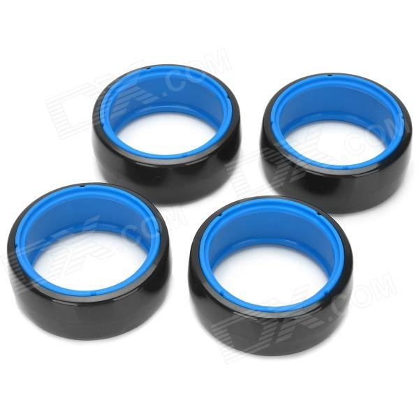 63mm Plastic Slick Wheels for R/C 1:10 Drift Car - Black + Blue (4 PCS)