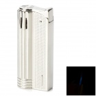 Classic Nostalgic Windproof Blue Flame Butane Gas Jet Lighter - Silver