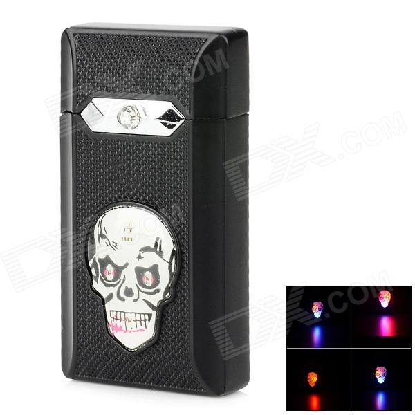 Windproof Colorful Flashing Light Skull Pattern Green Flame Butane Jet Lighter - Black (3 x LR41) creative camera shape windproof green flame butane gas lighter w colorful flashing light black