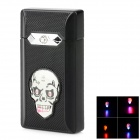 Windproof Colorful Flashing Light Skull Pattern Green Flame Butane Jet Lighter - Black (3 x LR41)