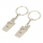 Love You Couple's Celll Phone Keychain Set - Silver (2 PCS)