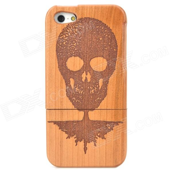Stylish Cool Skull Pattern Protective Wooden Back Case for Iphone 5 - Brown
