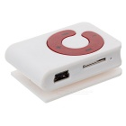 Mini Deportes Clip-On MP3 Music Player w / TF / Auriculares - blanco + rojo