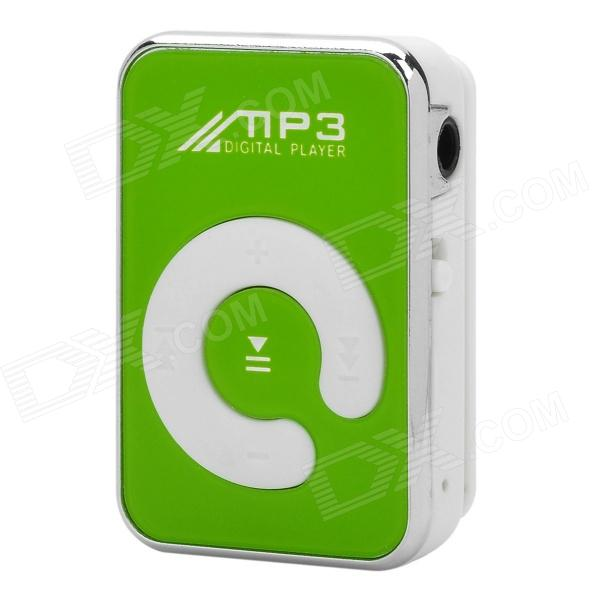 Mini Sports Clip-On MP3 Music Player w/ TF / Earphones - Green + Silver + White