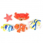 Funi CT-6683 5-in-1 Sea Animal Style Magnet Stickers - Blue + Orange + White