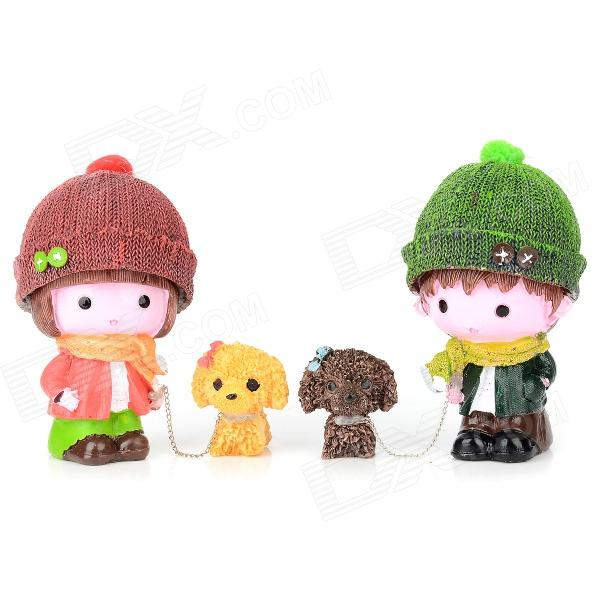 Couple Walk The Dog Style Resin Decoration Doll Toy - Red + Green + Brown + Yellow (2 PCS) mtele brand 62 pcs pcs magnetic tiles designer construction kids educational toys creative bricks enlighten toy