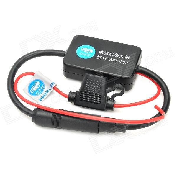25dB Car FM Radio Antenna Amplifier Booster w/ Indicator - Black