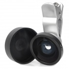 LIEQI Universal Clip-on Style 0.4X Wide Angle Lens for Iphone / Cellphone - Silver + Black