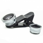 Universal 3-in-1 0.67X Wide Angle Lens + Fisheye Lens + Macro Lens Set w/ Clip for Cellphone