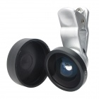 Universal 3-in-1 Clip-on Style 0.4X Wide Angle Lens + Fisheye Lens + Macro Lens Set - Silver + Black