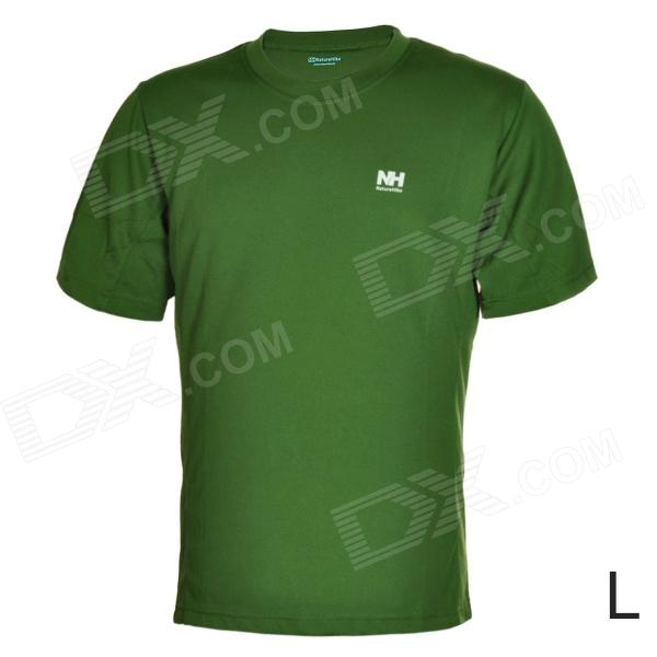 Naturehike-NH Quick Drying Round Collar Polyester T-shirt for Men - Army Green (Size L) arsuxeo ar608s quick drying cycling polyester jersey for men fluorescent green black l