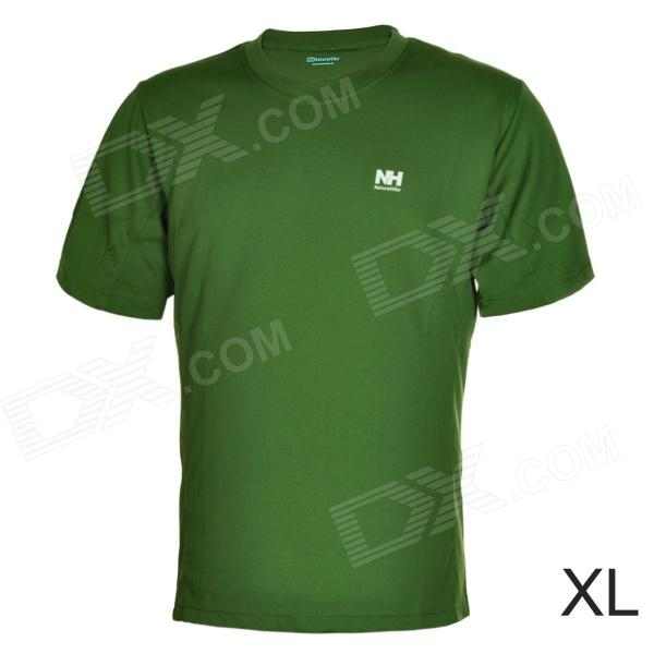 Naturehike-NH Quick Drying Round Collar Polyester T-shirt for Men - Army Green (Size XL) arsuxeo ar608s quick drying cycling polyester jersey for men fluorescent green black l